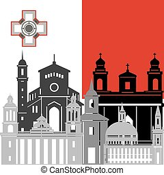 Malta - State flags and architecture of the country....