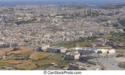 Malta Valletta city aircraft view