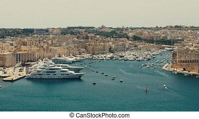 Malta, Valletta - July 1st, 2016:View from Upper Baraka Gardens on war museum on Senglea,Birgu and Kalkara.