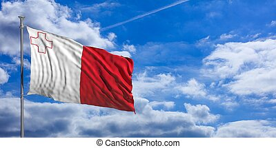 Malta waving flag on blue sky. 3d illustration