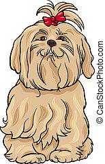 maltais, chien, illustration, dessin animé