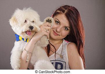 maltais, girl, chien