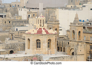 Maltese Church from Above - Church dome and belfry in...