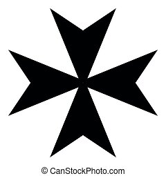 Maltese cross icon black color illustration flat style simple image