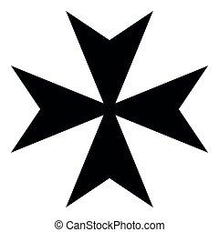 Maltese cross icon black color illustration flat style simple image