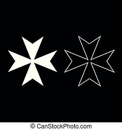 Maltese cross icon set white color illustration flat style simple image