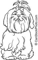 Maltese dog cartoon for coloring book