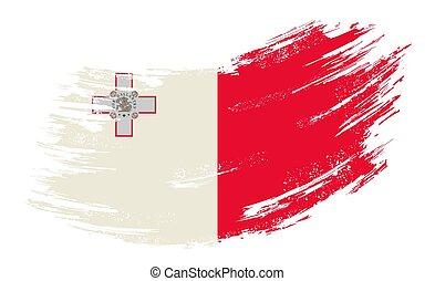 Maltese flag grunge brush background. Vector illustration...