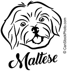Maltese head silhouette with name