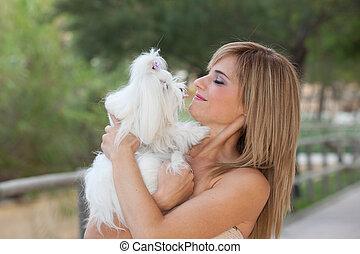 maltesisch, hunden, mit, besitzer