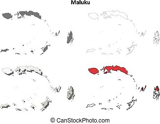 Maluku blank outline map set