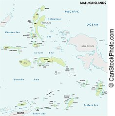 Maluku Islands vector map