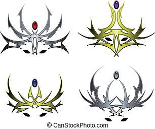 malvado, corona, diseños