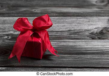 malvestito, festivo, legno, uno, fondo., presente, natale,...