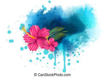 malwa, abstrakcyjny, kwiaty, tło