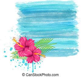 malwa, grunge, akwarela, imitacja, tło, kwiaty