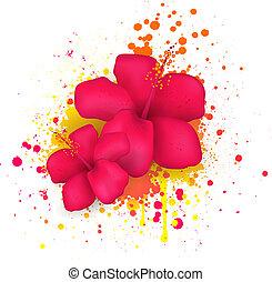 malwa, kwiaty, grunge, tło