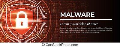 malware., achtergrond., vector., digitale , rood, mooi
