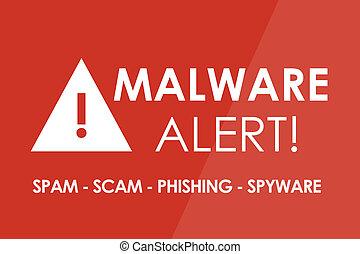 Malware Alert - MALWARE Alert concept - white letters and ...
