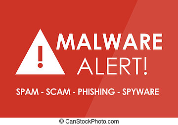 Malware Alert - MALWARE Alert concept - white letters and...