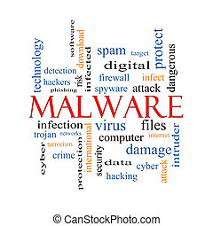 malware, concept, mot, nuage