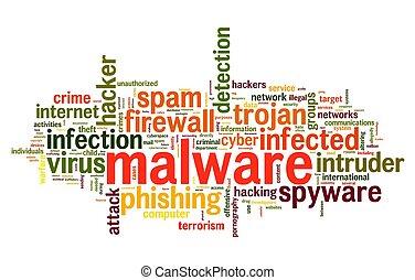 malware, concetto, in, etichetta, nuvola