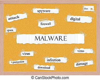 malware, corkboard, szó, fogalom
