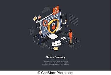 malware, customer., concept., isometrisch, technologie, rechnen, datenbank, abbildung, wolke, schaffen, edv, online, entwickler, security., vektor, datenschutz, sicherheit