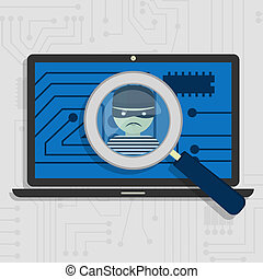 Malware detected on laptop represented by a magnifying glass...
