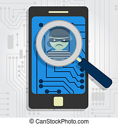 Malware detected on smartphone represented by a magnifying...