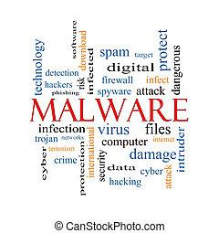 malware, glose, sky, begreb