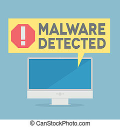 Malware - minimalistic illustration of a monitor with a...