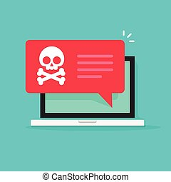 Malware notification on laptop vector, spam data, fraud internet virus