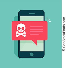 Malware notification on smartphone vector, concept of spam data, fraud internet error message