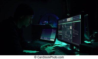malware, oszustwo, hackers, używając, concept., blockchain, wirus, cryptocurrency, ddos, komputer, interface., cyberattack, software, zrobienie