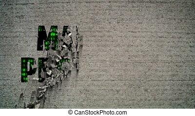 Malware Protection Crumbling Wall - Crumbling wall revealing...