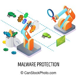 Malware protection, email security vector concept ...