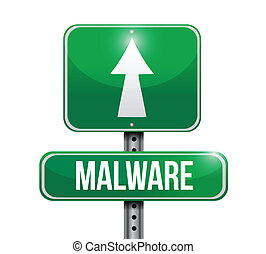 malware road sign illustration design