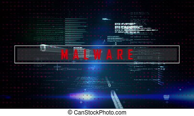 Malware text and data processing against blue background - ...