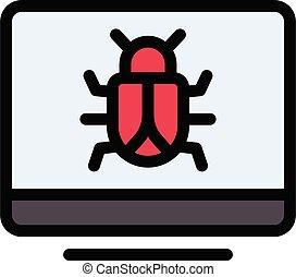 malware vector colour line icon