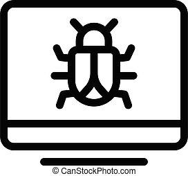 malware vector thin line icon