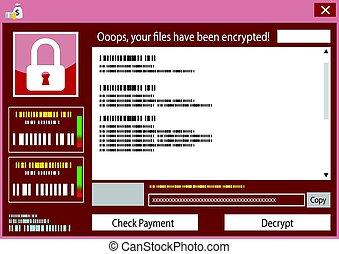 Malware wannacry Ransomware virus encrypted