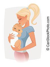 mamá, bebé, tenencia, ella