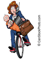 mamá, bicicleta