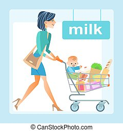 mamá, con, el, carro de compras, con, un, bebé, en, el, tienda