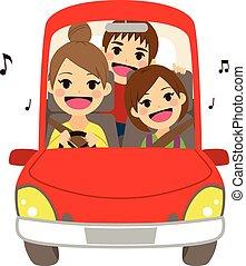 mamá, conducción, niños, escuela, canto