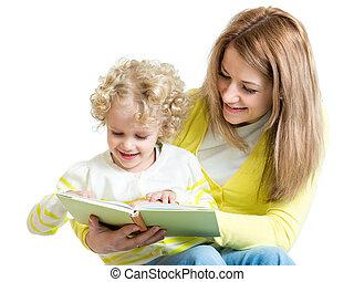 mamá, lectura, a, niño, un, libro