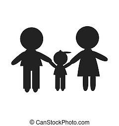 mamá, papá, y, hijo