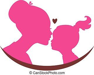 mamá, y, hija, amor