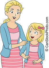 mamá, y, hija, emparejar, ropa